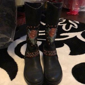Blingy Harley Davidson Leather boots